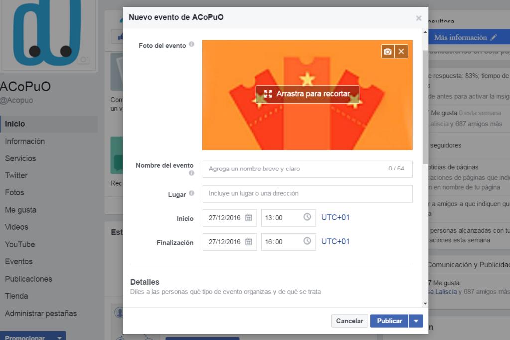 crear eventos Facebook