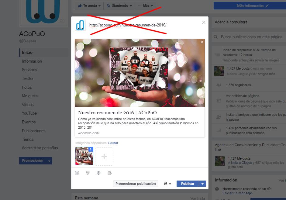 Facebook Publicación Enlace